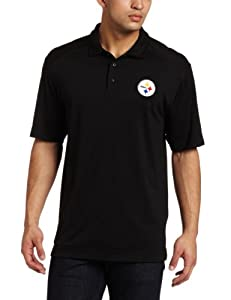 NFL Pittsburgh Steelers Men's Drytec Genre Polo Knit Short Sleeve Top, Black, Large