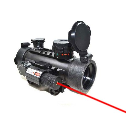 TopOutdoor 1x30 Red Green Dot Sight Rifle Scope with Red Laser Sight for Airsoft