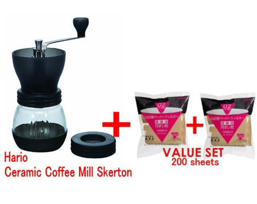 Hario Ceramic Coffee Mill Skerton & Hario 02 100 Count Coffee Paper Filter, Natural ×2 Set(total 200 Sheets)- Starter Value Set (With Values Japan Original Discription of Goods)