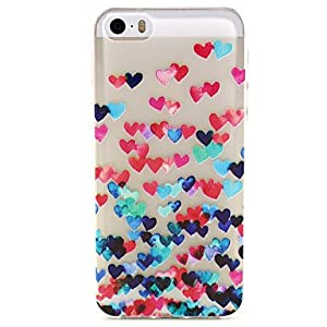 Colorful Heart Pattern Ultrathin TPU Soft Back Cover Case for iPhone 5/5S ( Compatible Models : IPhone SE/5s/5 )
