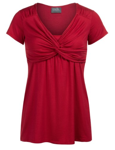 Milk Nursingwear Women'S Contemporary Knot Front Nursing Top-S-Red