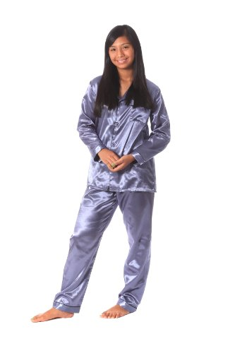 Soft Dreams Womens Brushed Back Satin Pajamas (Large, Silver Gray)