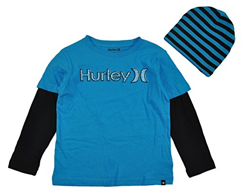 Hurley Little Boys' Jailbird Loose Fit Slider With Beanie, Baby Cyan, 7 front-908358