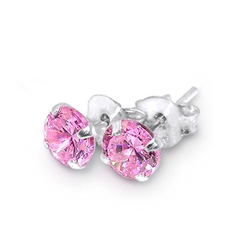 3MM Pink Round CZ Stone 925 Sterling Silver Stud Earring (Confederate Flag Belly Ring compare prices)