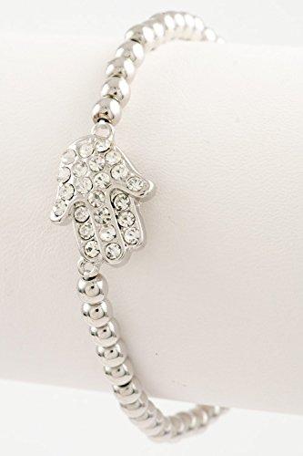 Trendy Fashion Jewelry Hamsa Hand Bracelet By Fashion Destination | (Rhodium)