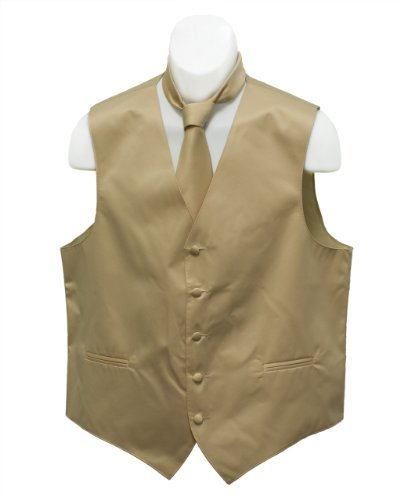 Fine Brand Shop Men's Tan Color Solid Jacquard Suit Vest and Neck Tie Set - X-Small