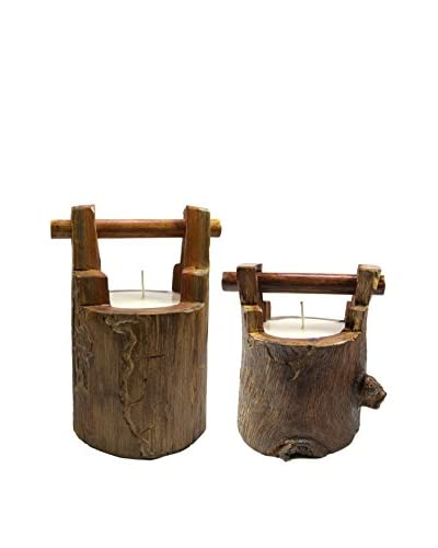 Volcanica Set of 2 Wood Wishing Well Candles