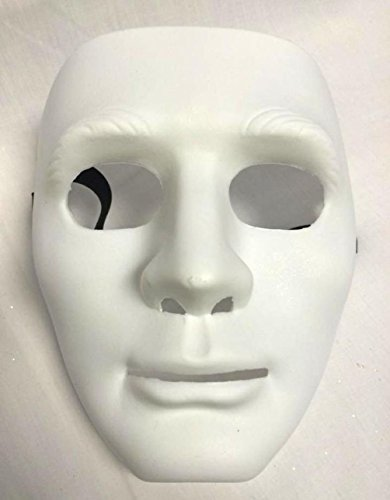 Mememall Blank Face Mask Plastic Costume Blue Green Pink Yellow White Orange