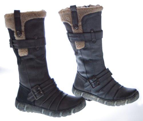 Designer Stiefel Damen Schwarz Weiß Braun Grau Schuhe gefüttert Winter Damenstiefel