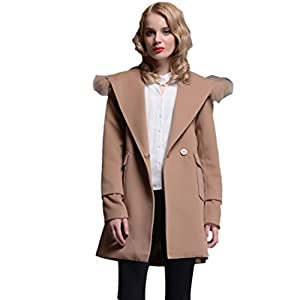 PlayColor Women's Fur Hoody One Button Long Trench Coat Meduim Khaki