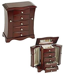 Mele & Co. Bette Cherry Finish Jewelry Chest