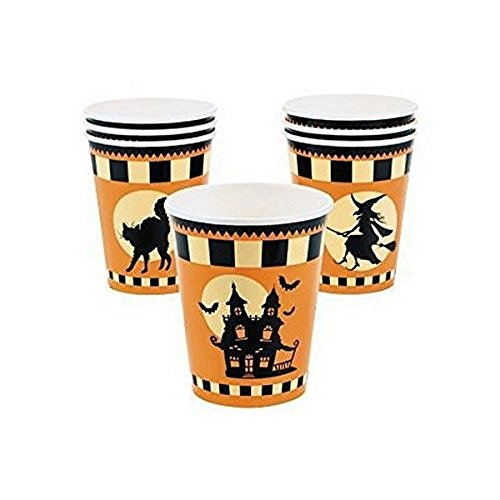 Pkg. Of 8 ~ Halloween Silhouette Paper Cups ~ 9 Oz. ~ New / Sealed Package.