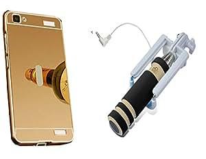 Novo Style Back Cover Case with Bumper Frame Case for Vivo V1 Max + Wired Selfie Stick No Battery Charging Premium Sturdy Design Best Pocket SizedSelfie Stick