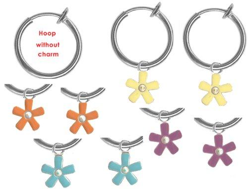 Kid's Set of Enamel Flower Non Pierced Hoops/ Set of 4 Colors