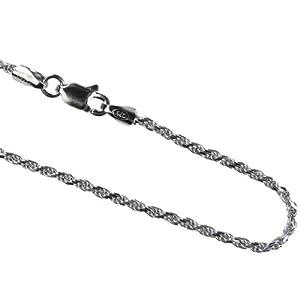 "Italian Diamond Cut Rhodium Plated Sterling Silver Rope Chain (20"")"