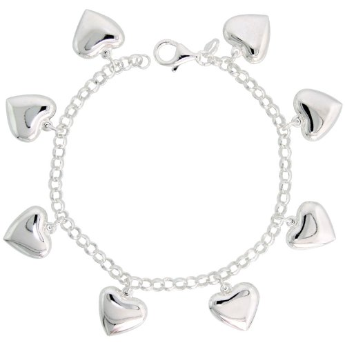 Sterling Silver Pendant Bracelet with Puffy Hearts, 5/8