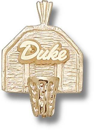 Duke Blue Devils Duke Basketball Backboard Pendant - 14KT Gold Jewelry by Logo Art