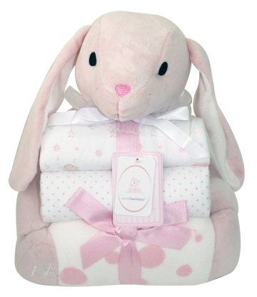 Piccolo Bambino Pink Bunny with 3 Baby Blankets and Stuffed Animal