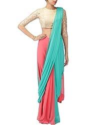 Pandora Design Women Gold, Pink & Green Georgette Saree