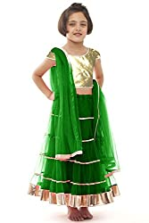 Beautifull Small Girl's Green Lehenga Choli With Dupatta (8-10 Years) Presenting by Sixsense Retailers