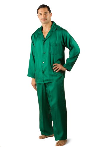 Men's Silk Pajamas Set - The Rainforest (XL) - PJ Set for Men Perfect Luxury Gift Present for Him Cool Birthday Guy Gifts for Men Him Intimate Romantic Gifts of Love for Men Husband Boyfriend Valentine's Day Creative Christmas Gift for Men