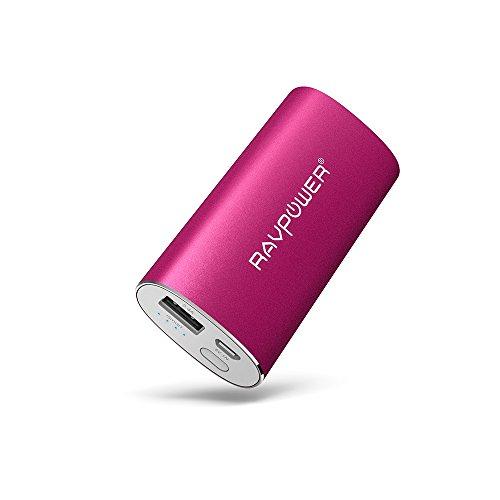 RAVPower 5200mAh モバイルバッテリー スマホ急速充電器 チャージャー 超小型  iSmart機能搭載18ケ月の安心保証5V/1A iPhone 6plus/6/5S/5C/5/4S・iPad Air/mini・各種タブレット・Galaxy・Xperia 4・Xperia Z3+・softbank・au・docomo・Wi-Fiルータ・各社Androidスマートフォン/ウォークマン等マルチデバイス対応(ピンク)RP-PB17