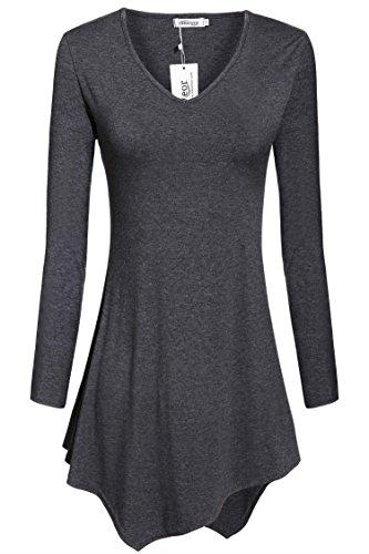 Meaneor Women's Handkerchief Hem Long Sleeve Tunic Top Dark Gray L