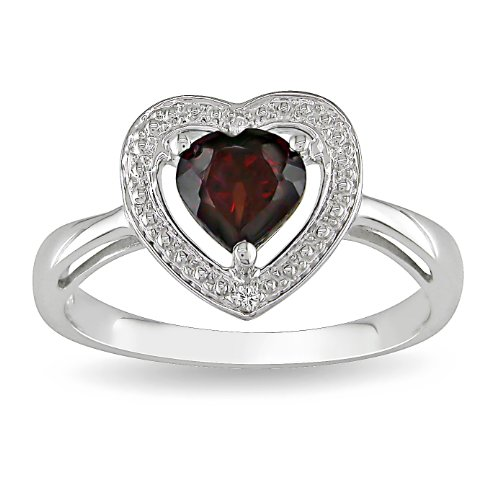 Sterling Silver, Garnet and Diamond Heart Ring (.01 cttw, G-H Color, I3 Clarity), Size 6