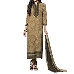 Bhelpuri Women Light Brown Cambric Cotton Dress Material