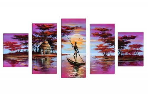 Sangu 100% Hand-Painted 5-Piece The Shores Of Home Africa Oil Painting Gift Canvas Wall Art For Home Decoration