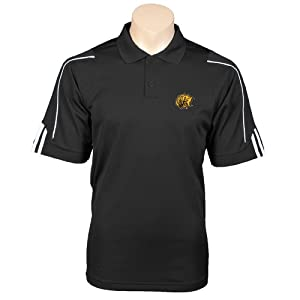 Arkansas Pine Bluff Adidas ClimaLite Black 3 Stripe Cuff Polo
