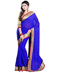 Sourbh Saree Trendy Lace Work Royal Blue Faux Georgette Saree (in Other Colors Also)