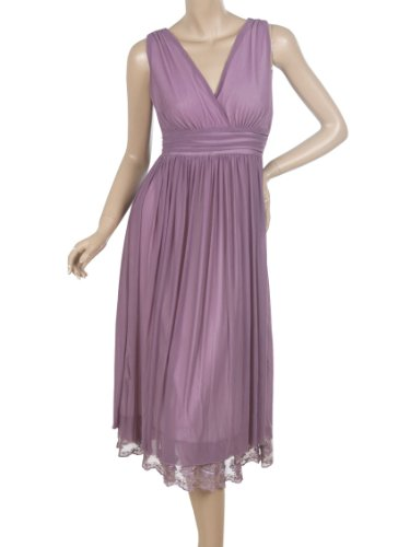 Ever Pretty Double V-neck Chic Summer Empire Waist Mini Party Dress 0279B, Size 6, Purple, HE0279BPP08