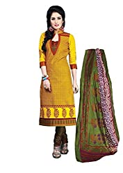 Vedant Vastram Woman's Cotton Printed Unstitched Dress Material (Yellow & Red Colour)