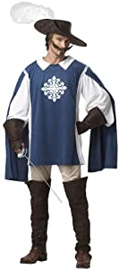 California Costumes Men's Musketeer Medieval L Blue And White