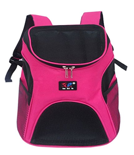 Greenery Multi-use Breathable Mesh Cover Durable Nylon Pet Puppy Dog Cat Small Animals Outdoor Travel Carrier Backpack Front Chest Bag Shoulder Handbag, Rose red