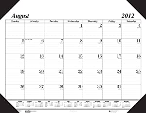 School Smart August 2012 To December 2013 Academic Desk Pad Calendar - 22 x 17 inches - Black