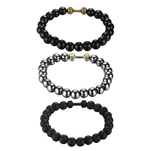 3 Pcs Mix Style Fitness Life Dumbbell Handmade Stretch Bead Bracelet Fit All Men&Women, 8mm