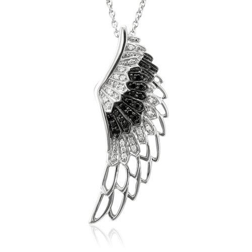 Sterling Silver Angel Feather Wing BLACK and WHITE Diamond Pendant Necklace (HI, SI3-I1, 0.25 carat)