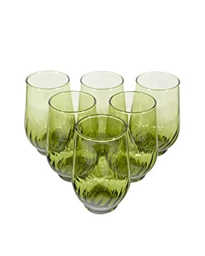 2 B Modern 1960s Set of 6 Glass Tumblers, Green