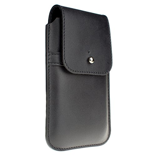 Blacksmith-Labs Barrett Grande Large Oversized Genuine Leather Holster For Apple Iphone 5/5S/5C With Metal Alloy Swivel Belt Clip - For Use With Otterbox Commuter, Lifeproof, Speck, Uag, And More (Black Leather - Gunmetal Belt Clip)