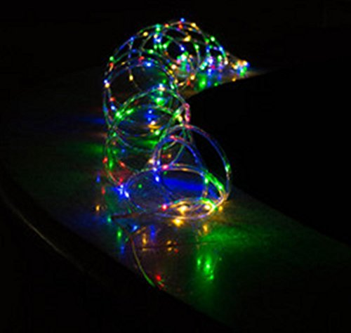 100LED 40FT Colorful Solar Rope Light Waterproof Outdoor Rope Lights Portabl