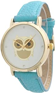 Ladies Owl Design Leather Watch - Turquoise