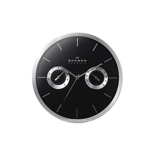 Amazon.com: Skagen Wall Clock - Silver Trim & Black Dial - Hygrometer