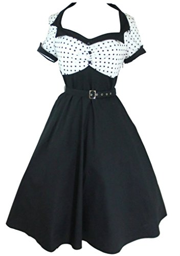 Modern Grease Rachel 50's Flare White Black Polka Dot Dress