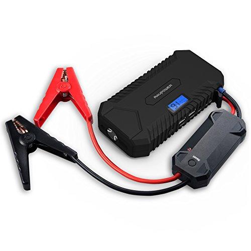 RAVPower Avviatore di Emergenza per Auto/Caricabatterie da 14000mAh (Picco di Corrente 500A, Doppia Uscita USB iSmart 2.1A, Protezione Avanzata, Display LCD, Torcia LED Integrata)