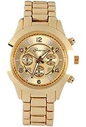 Geneva Platinum Large Face Faux Chronograph Boyfriend Watch-Gold
