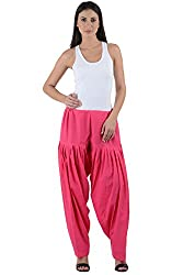 Numbrave Women's Pink Cotton Full Patiala Salwar
