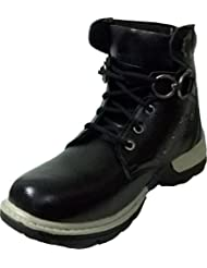 Vogue Stack Men's Black Faux Leather Boots