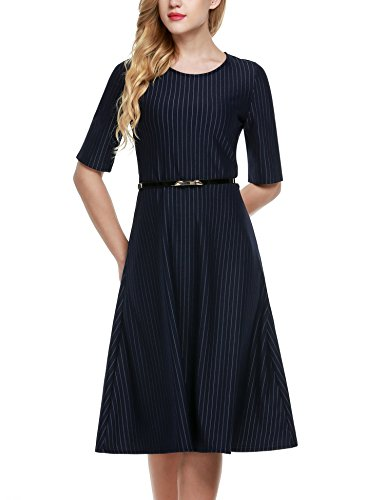 ANGVNS-Womens-Summer-Short-Sleeve-A-Line-Office-Wear-Party-Cocktail-Dress-With-Belt